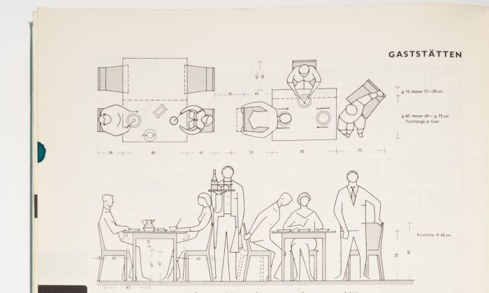 Ernst Neufert, Dimensions and distances of tables, chairs and space required for sitting, eating, getting up and serving in restaurants, Bau-entwurfslehre, Frankfurt, 1964. (detail)
