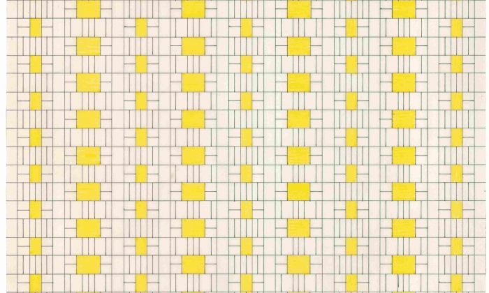 Piet Blom. Aerial view of 'Housing as an Urban Roof', 1969-70. Collection Het Nieuwe Instituut, BLOM 126-7. The grid shows the alternation between roofs and external spaces, with the voids for daylight shown in yellow.