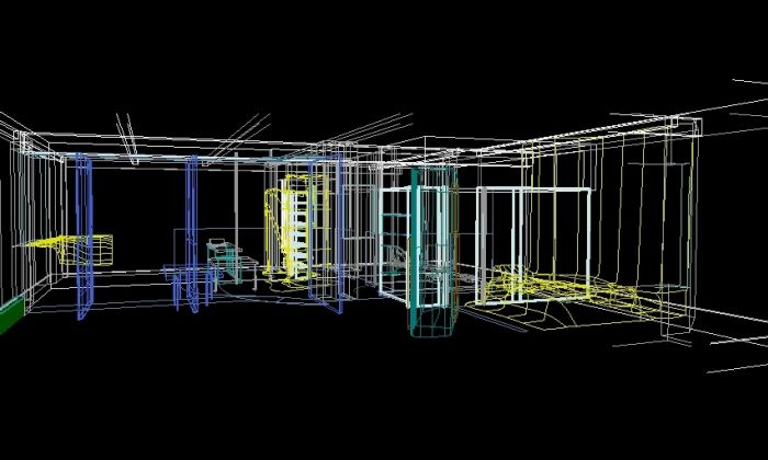 Kolatan/Mac Donald Studio, O/K Apartment: Screen shot van een 3D Microstation model (1995). KOL/MAC records, Canadian Centre for Architecture, Montréal, Gift of KOL/MAC © KOL/MAC