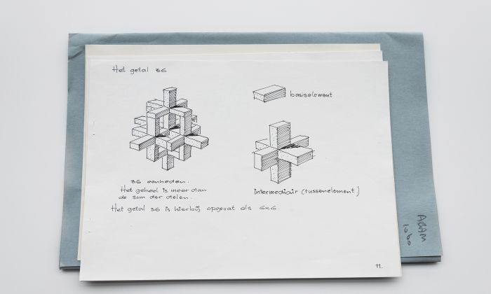 H.C. de Weijer. Design assignment 'Het Getal' (The Number), Academie van Bouwkunst, ca. 1967. Collection Het Nieuwe Instituut, ABAM 1060. The students explored the possible combinations of twelve identical simple forms.