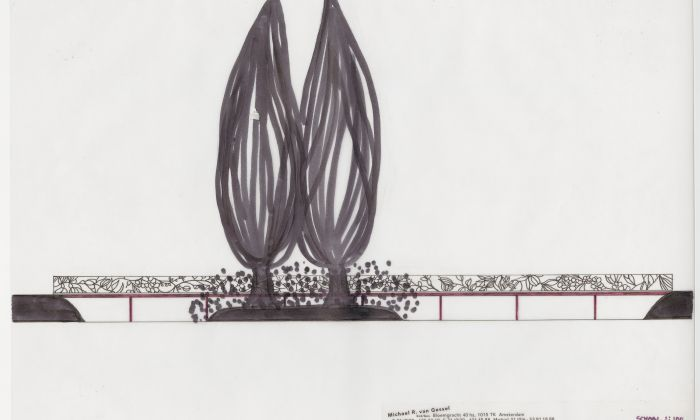 Michael van Gessel. Design for the Visserseiland bridge, Park Twickel, Delden, 2005. Collection Het Nieuwe Instituut, GESS m049-5