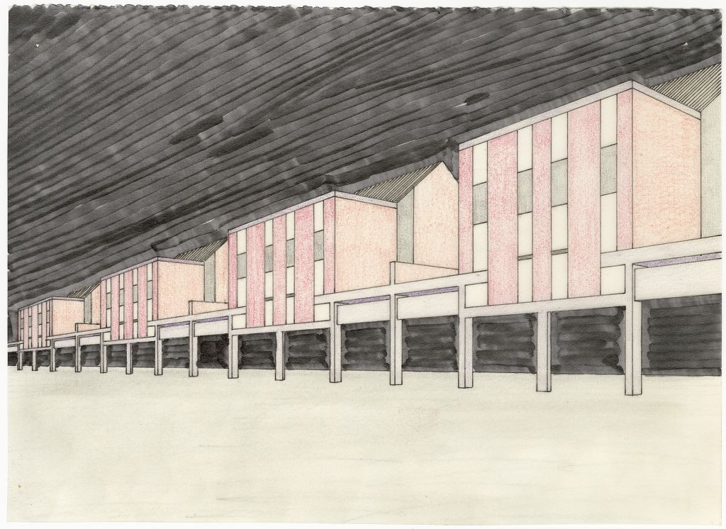 Piet Blom, Kasbah perspective, 1970, collection of Het Nieuwe Instituut, BLOM 126-1. The Kasbah, a housing estate in Hengelo, was built between 1969 and 1974. It dispenses with the division between living and working, which was promoted by the Functionalists. Blom believed that the neighbourhood should be as lively as the Jordaan in Amsterdam, where he grew up.