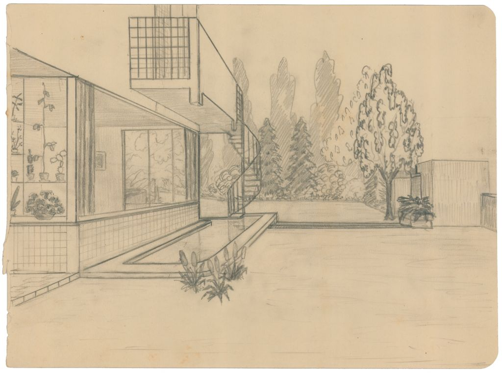 Architectenbureau Brinkman en Van der Vlugt. Sonneveld House, Rotterdam, 1929-1933. Drawing of the studio by Gésine Sonneveld. She drew the studio from the garden and included many details of the room that have disappeared over the years, such as the plants in front of the window on the western side. It is the only original drawing of the studio that has survived. Collection Het Nieuwe Instituut, BROX 93t20