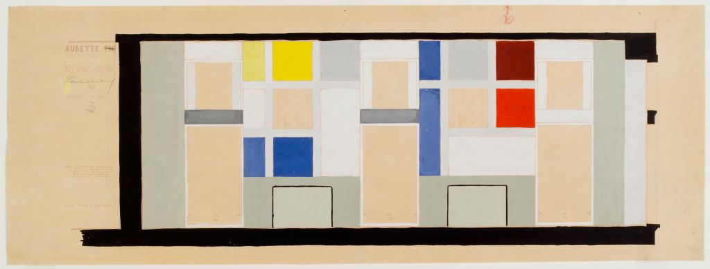 Theo van Doesburg. Café Aubette, colour design for a wall in the Grand Salon, 1927. Collection Het Nieuwe Instituut, DOES ab5205. Drawing on Display in Belvere, Vienna.