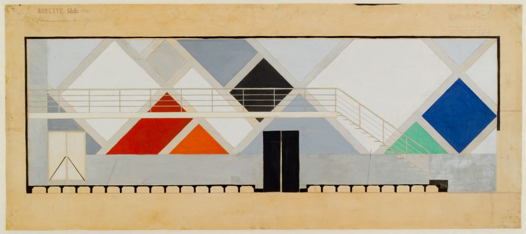 Theo van Doesburg. Café Aubette, design for a wall in the Cinema-Dance Hall. Collection Het Nieuwe Instituut, DOES ab5209. Drawing on display in Barbican Art Gallery, London.