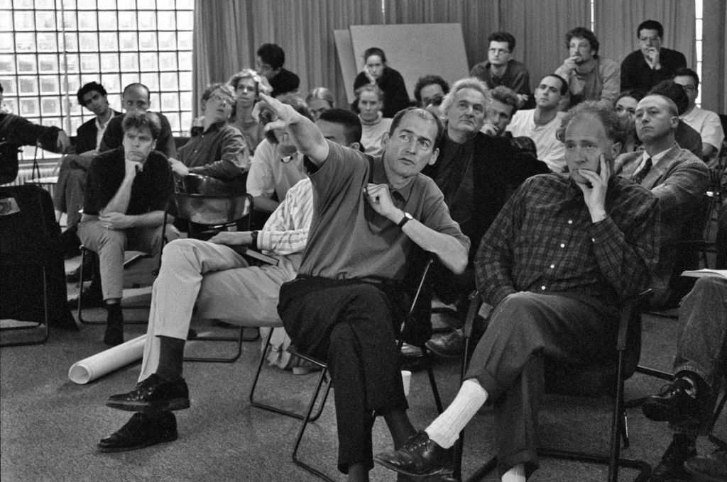 "Point City"" masterclass at Het Berlage Instituut with Rem Koolhaas, Gary Bates, Andrew McNair, Herman Hertzberger, Victor Mani, Winy Maas. 18th of May 1994, Burgerweeshuis Amsterdam. Photo: Berlage Instituut."