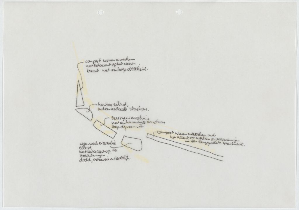 Michael van Gessel in association with Kees Rijnboutt. Structural vision for the public spaces on the southern bank of the IJ, Amsterdam, 1998-2007. Collection Het Nieuwe Instituut, GESS m027-1