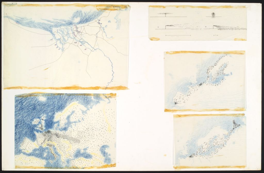 P. Gonggrijp. Europe, Delta, birds, people, industry. Drawings for graduation project TH Delft, 1969. Collection Het Nieuwe Instituut, GONG 1