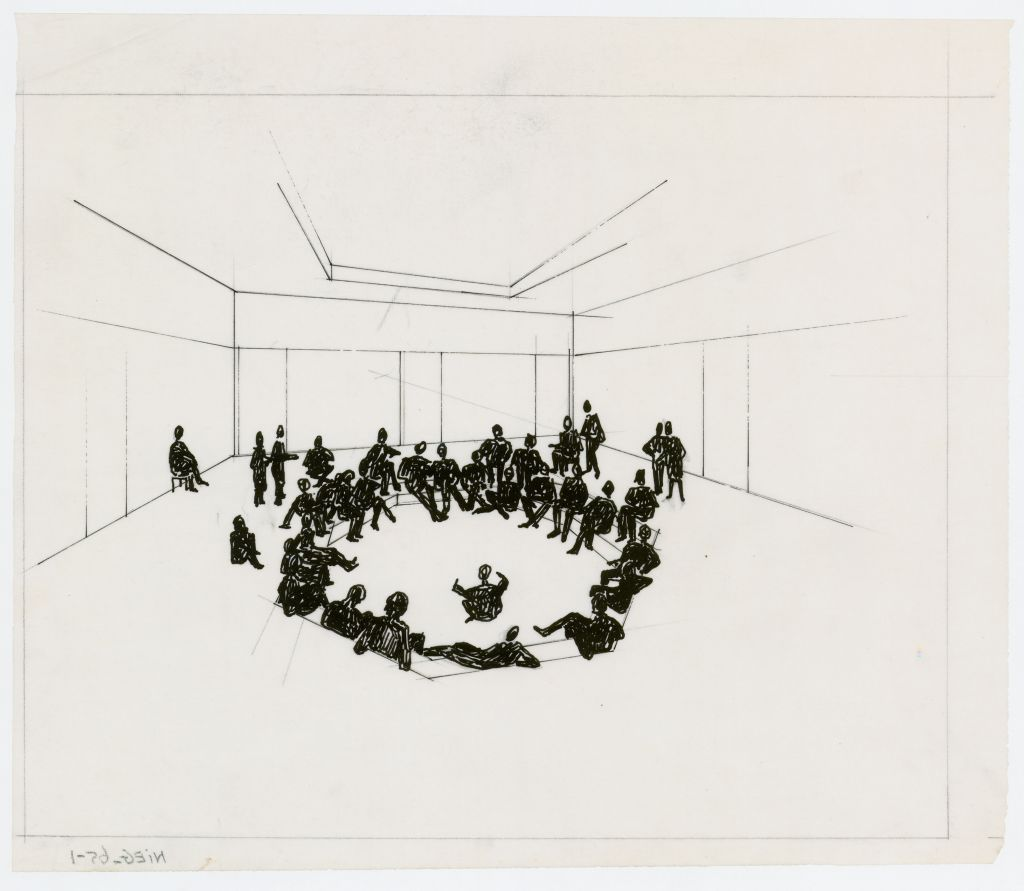 Johan Niegeman and Bé Niegeman-Brand. Design for the living room of a community center in Slotermeer (Amsterdam) commissioned by 'Ons Huis', circa 1955. Collection Het Nieuwe Instituut, NIEG 65