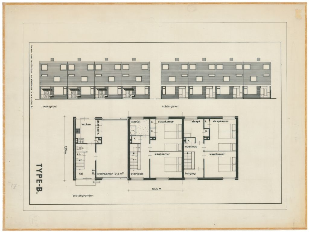 Willem Wissing, Standard housing for Patrimonium (Protestant workers' organisation) in the Noord II expansion plan, Barendrecht, c.1962, Het Nieuwe Instituut collection, Willem Wissing Archive, WISSr101